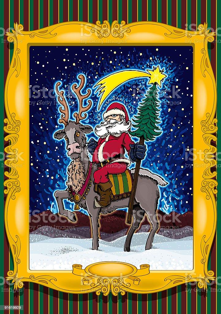 Equestrian Santa Claus royalty-free stock vector art
