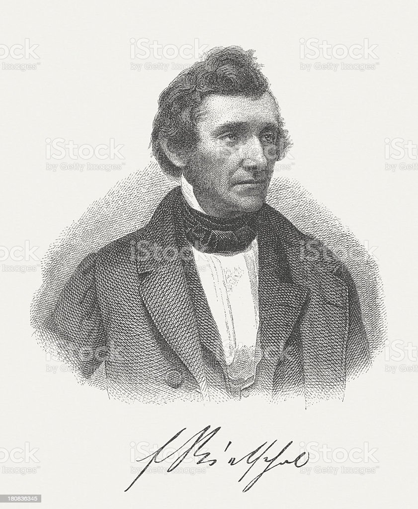Ernst Rietschel (1804-1861), German sculptor, wood engraving, published in 1882 royalty-free stock vector art