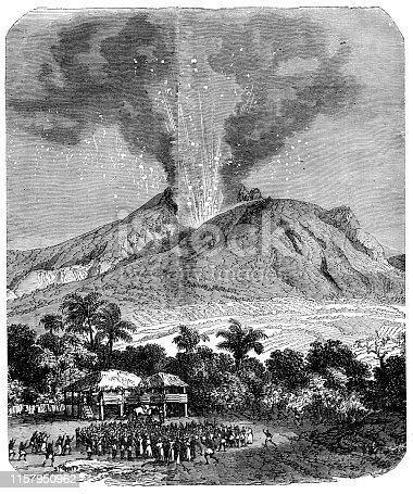 In 295 CE, an eruption of Mount Pelée on the island Martinique resulted in the decimation of the island's population. Original edition from my own archives Source :