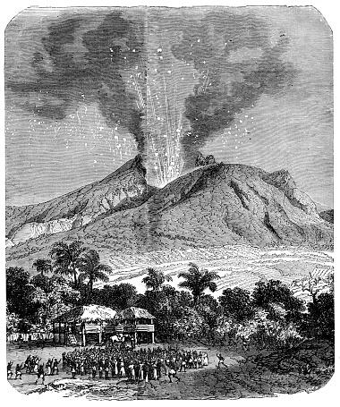 Eruption of Mount Pelée on the island Martinique