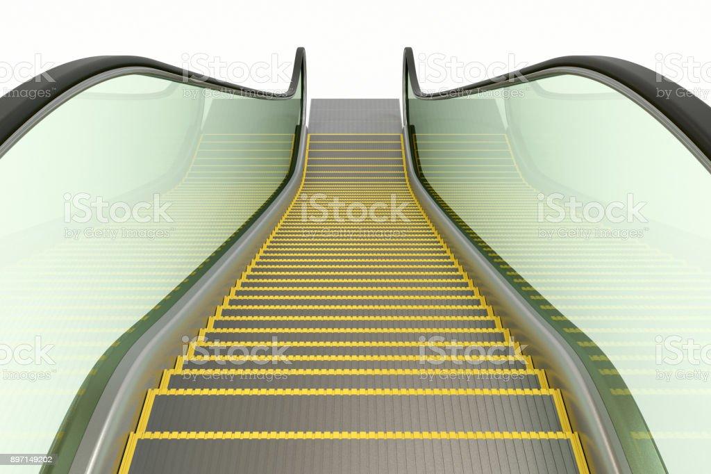 Escalator isolated on white vector art illustration