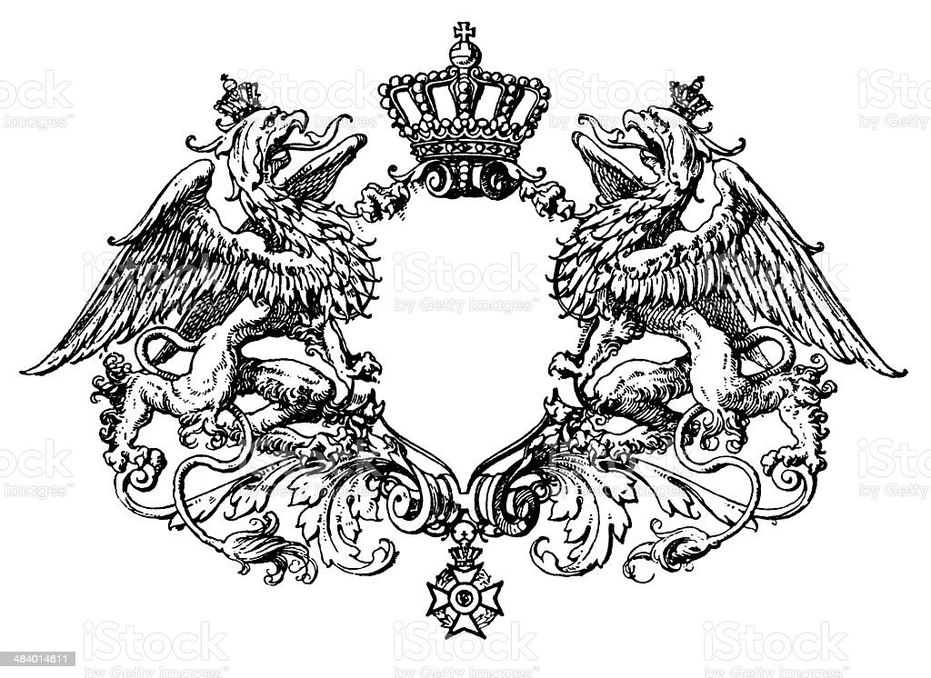 Escutcheon with Griffins royalty-free escutcheon with griffins stock vector art & more images of 16th century style