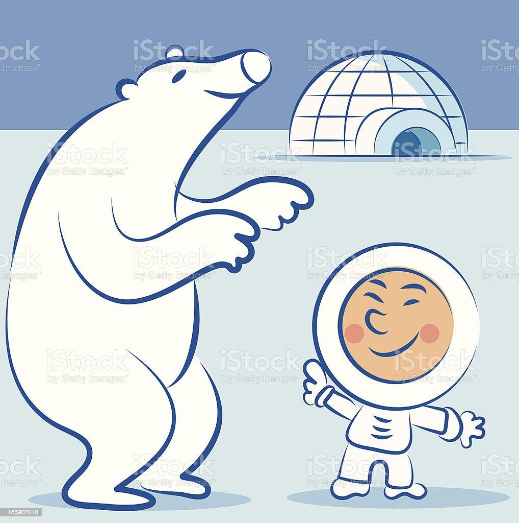 Eskimo and Polar bear royalty-free eskimo and polar bear stock vector art & more images of canada