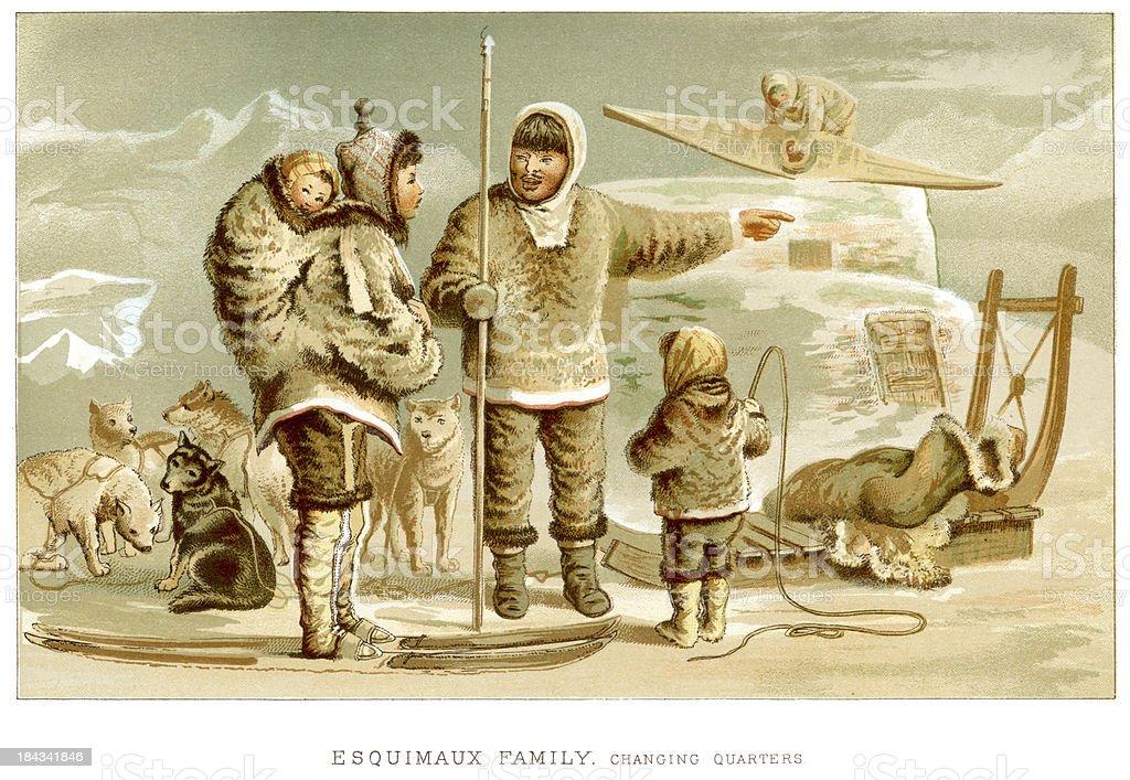 Eskimo Family vector art illustration