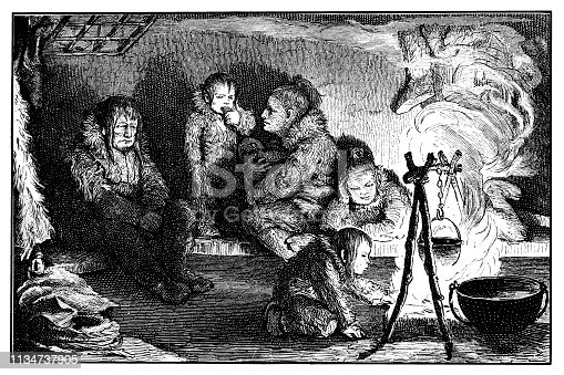 Illustration of a Eskimo family in igloo (winter habitation)