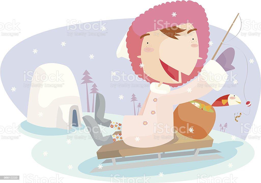 eskimo fishing - Royalty-free Aas - Visgerei vectorkunst