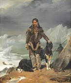 Eskimo woman with dogs at the sea, during hunting