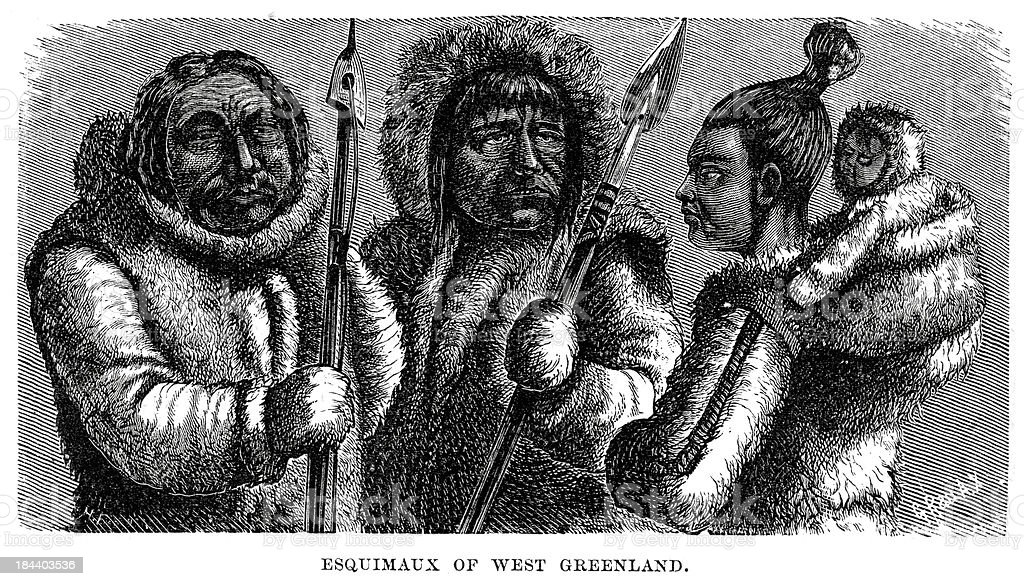 Eskimos of West Greenland royalty-free eskimos of west greenland stock vector art & more images of 19th century