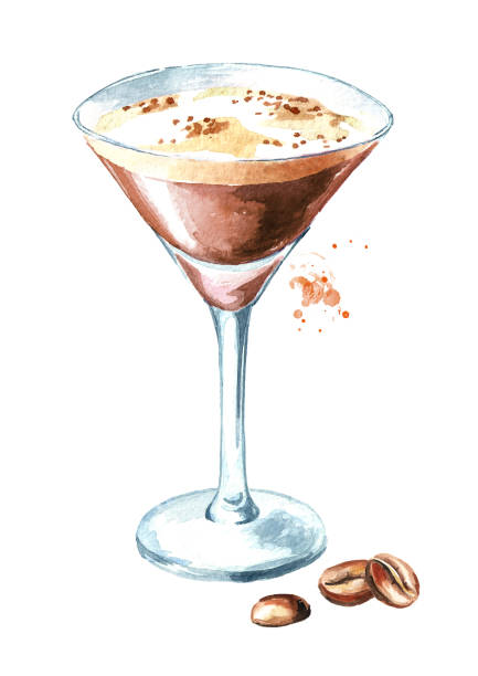 espresso martini cocktail with coffe grains. watercolor hand drawn illustration, isolated on white background - espresso stock illustrations