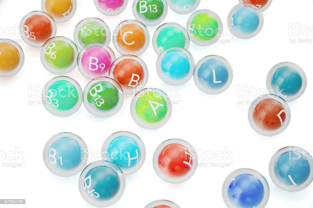 Essential Chemical Elements Nutrient Minerals Vitamins. 3d rendering vector art illustration