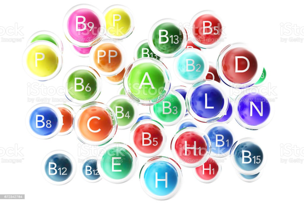 Essential Chemical Elements Nutrient Minerals Vitamins. 3d rendering vector art illustration