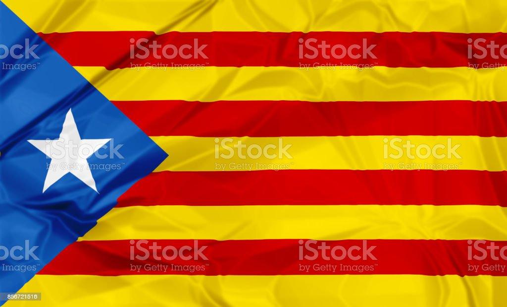 Estelada Blava flag of Catalonia vector art illustration