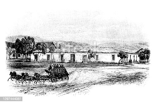 Illustration of a Estudillo's house in North San Diego, oldest building in California