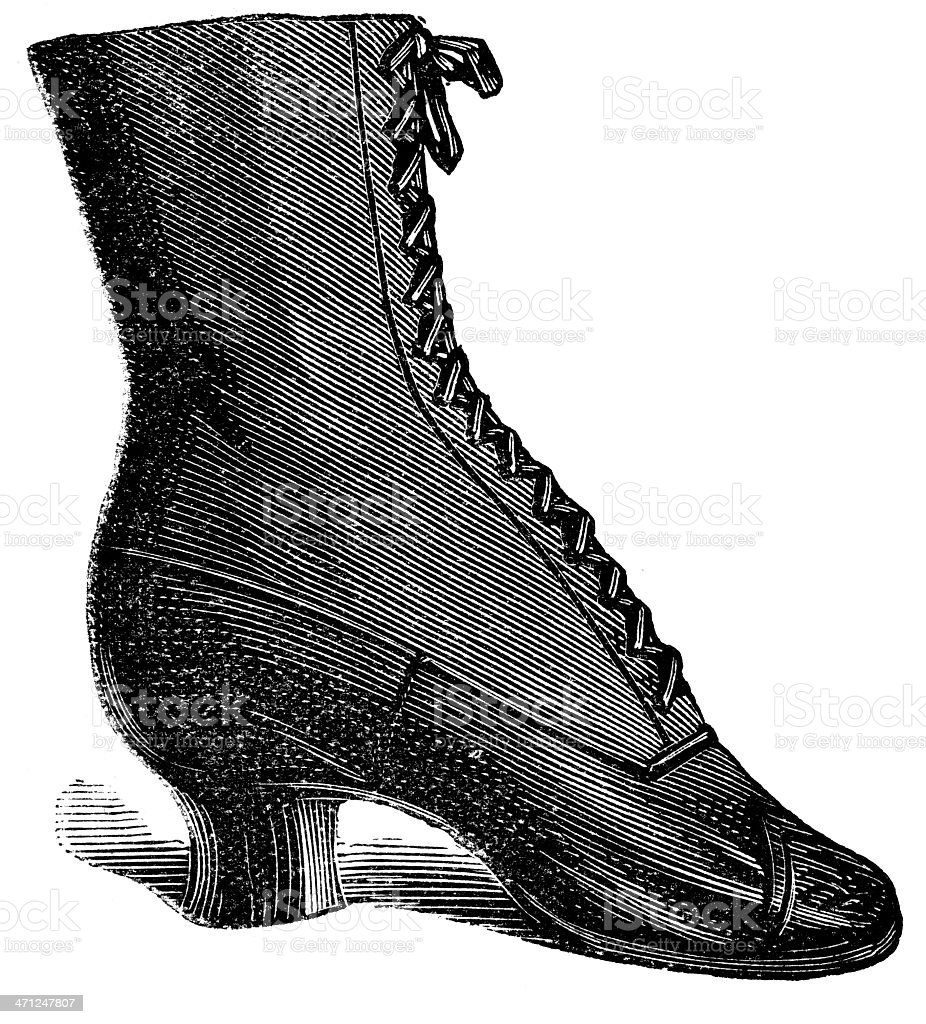 Etched illustration of a lace-up vintage female's shoe royalty-free stock vector art