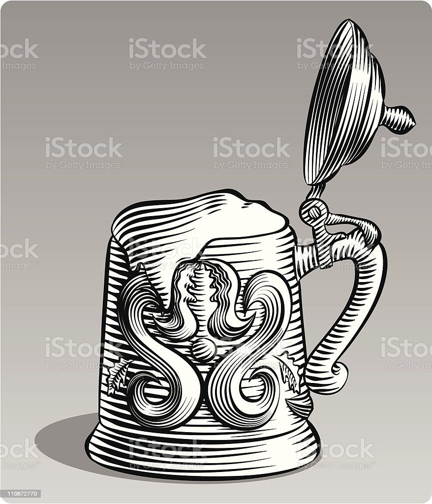 Etched Style Beer Stein vector art illustration