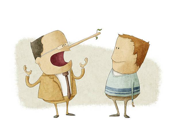 ethics concept of business boss  lying  an employee vector art illustration