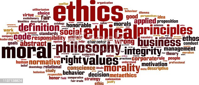 Ethics word cloud concept. Collage made of words about ethics. Illustration