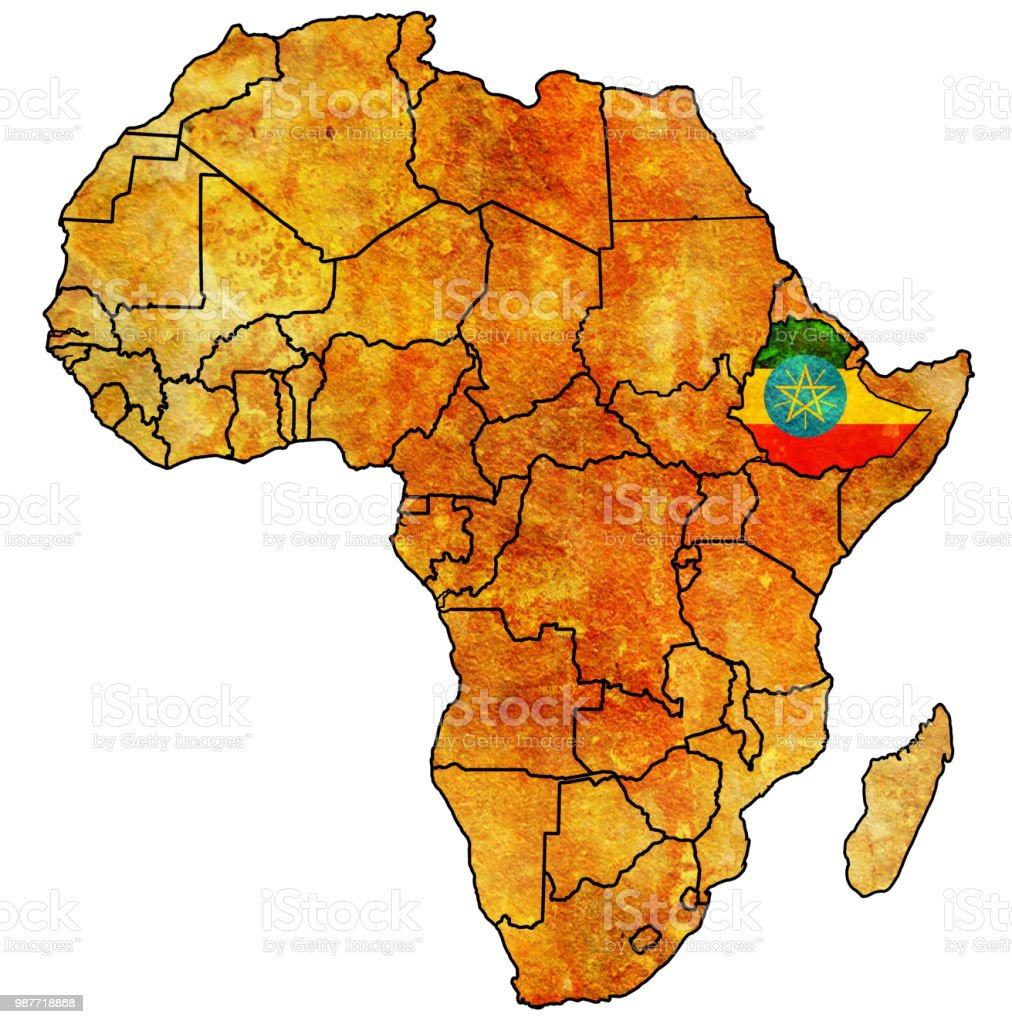 Map Of Ethiopia In Africa.Ethiopia Territory On Political Map Of Africa Stock