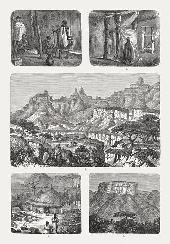 Ethiopian culture, wood engravings, pupblished 1893