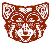 Ethnic ornamented red panda