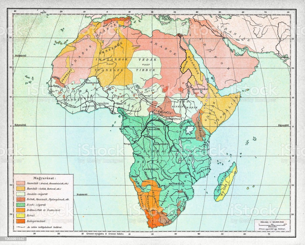 19th Century Africa Map.Ethnographic Map Of Africa From 1898 Stock Vector Art More Images