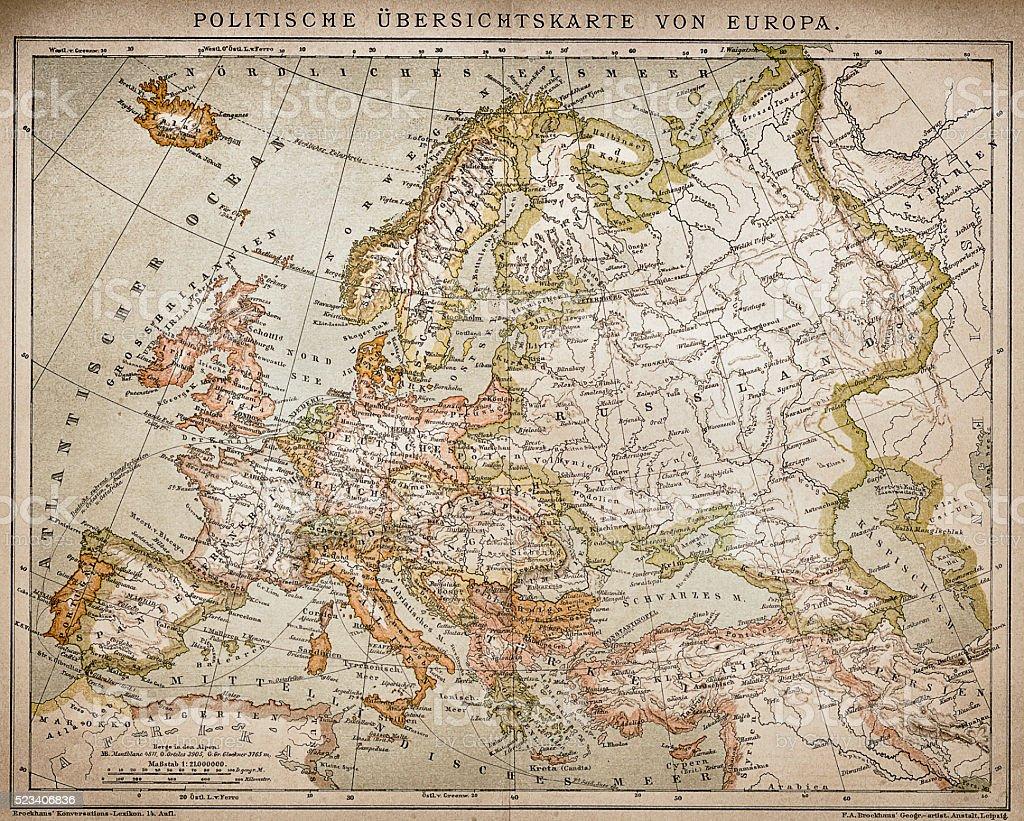 Ethnographic map of Europe vector art illustration