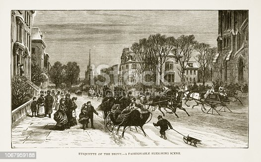 Very Rare, Beautifully Illustrated Antique Engraving of Etiquette of the Drive - A Fashionable Sleighing Scene Victorian Engraving, 1879. Source: Original edition from my own archives. Copyright has expired on this artwork. Digitally restored.