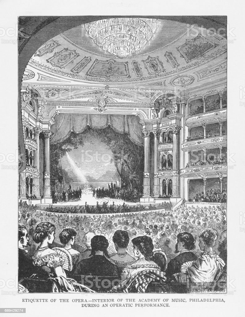 Etiquette of the Opera - Interior of the Academy of Music, Philadelphia, During an Operatic Performance Victorian Engraving, 1879 vector art illustration