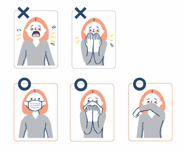 咳をするときのエチケット(良い例と悪い例) - くしゃみ 日本人点のイラスト素材/クリップアート素材/マンガ素材/アイコン素材