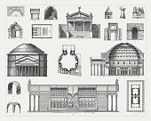 Etruscan and Roman architecture, 1-11 Etruscan architecture: 1) Source house in Tusculum (modern Frascati); 2) Construction of a round arch; 3) Porta all'Arco in Volterra; 4) Arch of Augustus (Etruscan Arch) in Perugia; 5) Cloaca Maxima, Rome (600 BC); 6 - 7) Etruscan temple with floor plan (visual reconstruction, after Gottfried Semper); 8) Column from La Cucumella, Vulci; 9) Tomb of the Horatians and Curiatians; 10) Etruscan tomb at Castel d'Asso; 11) Grabcippus (sideview). 12 - 18 Roman architecture: 12) Roman barrel vault; 13) Roman cross vault; 14 - 16) Pantheon in Rome, with facade, floor plan, and cross section; 17 - 18) Temple of Venus and Roma in Rome with floor plan (visual reconstruction, 135 AD). Wood engravings, published in 1897.