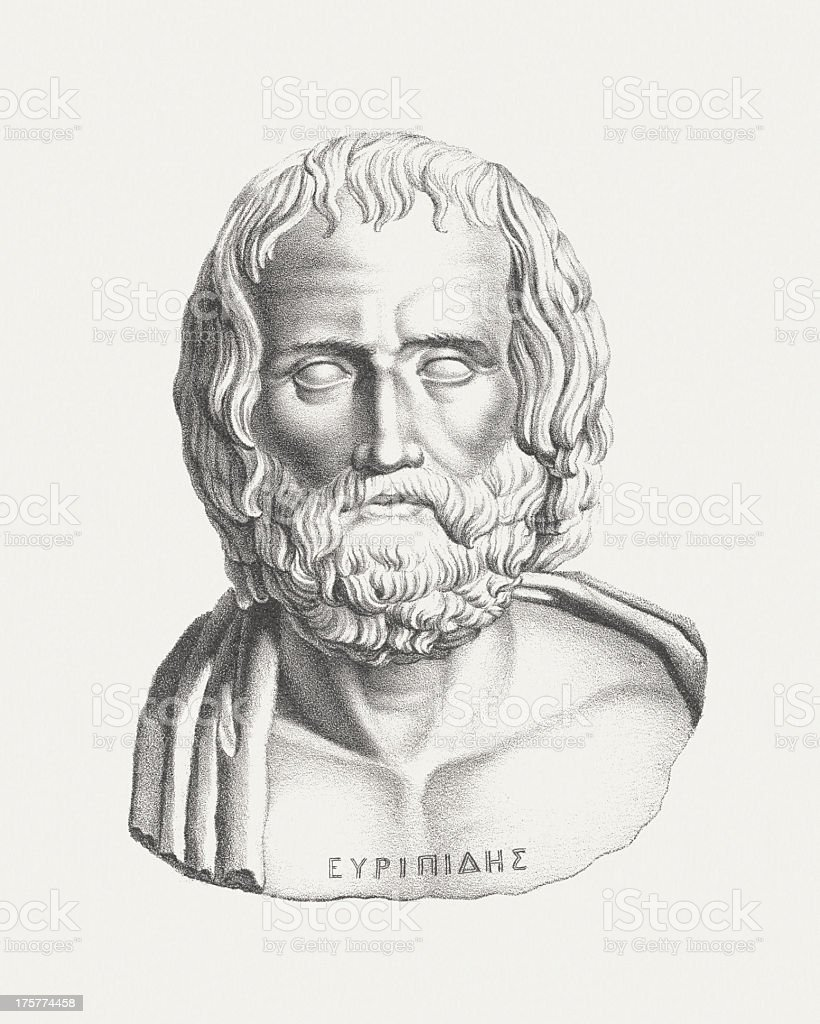 Euripides (ancient Greek dramatist), lithograph, bublished c. 1830 royalty-free euripides lithograph bublished c 1830 stock vector art & more images of ancient civilization