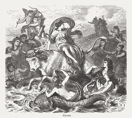 Europa on the bull, Greek mythology, wood engraving, published 1880