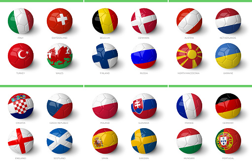 Europe 2020 groups with country flags isolated on white background.