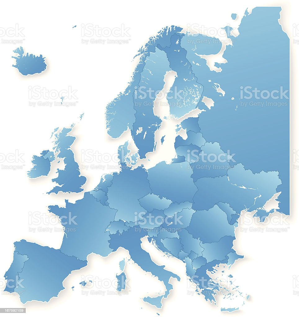 Europe Isolated Continent Map royalty-free stock vector art