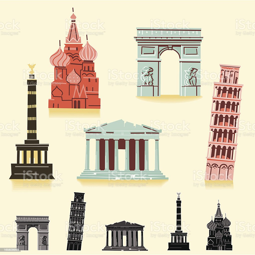 Europe Landmarks royalty-free europe landmarks stock vector art & more images of arc de triomphe - paris