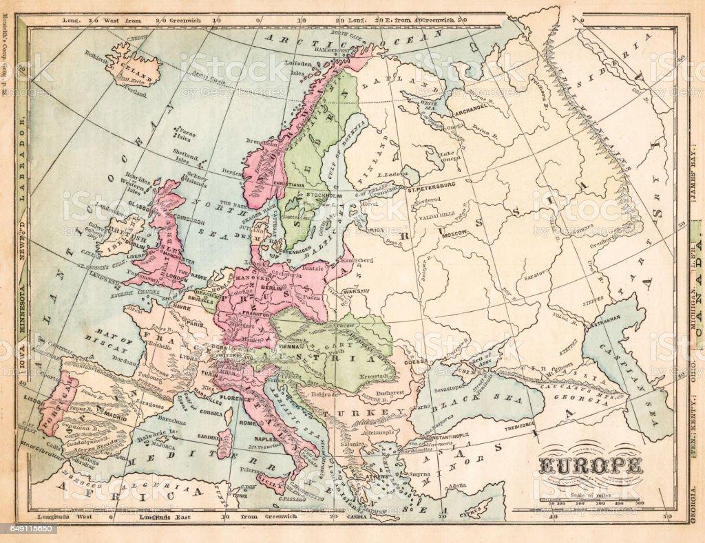 Europe map 1875 vector art illustration