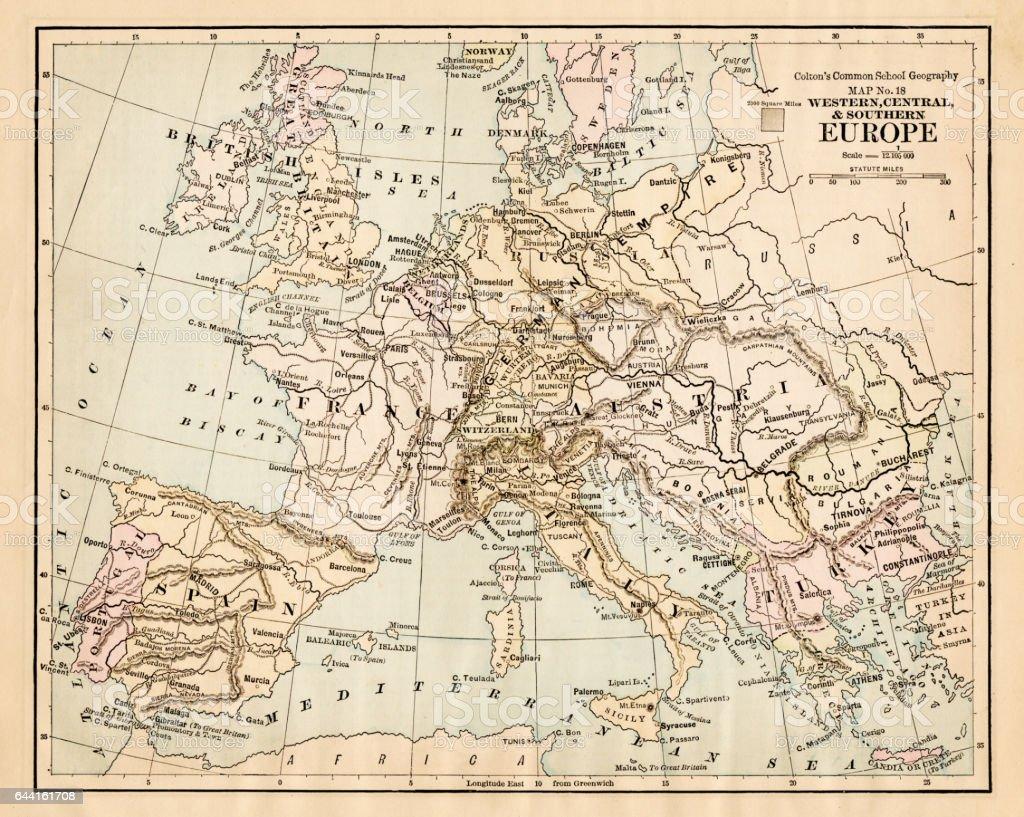 Europe map 1881 vector art illustration