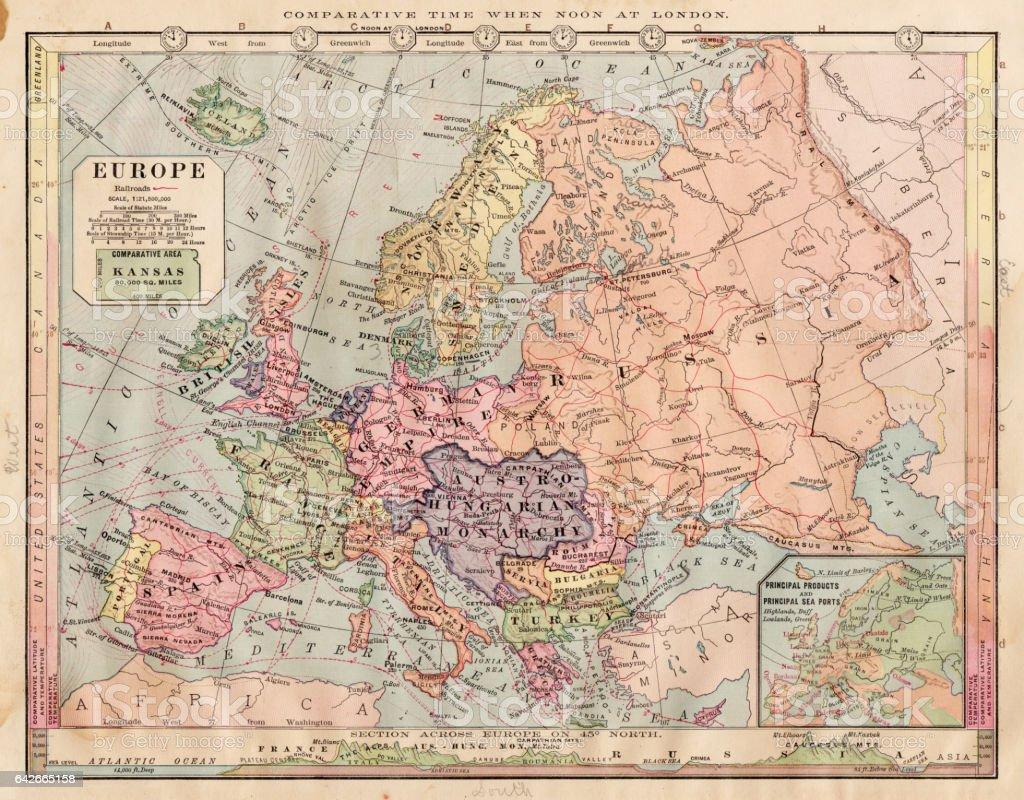 Image of: Europe Map 1886 Stock Illustration Download Image Now Istock