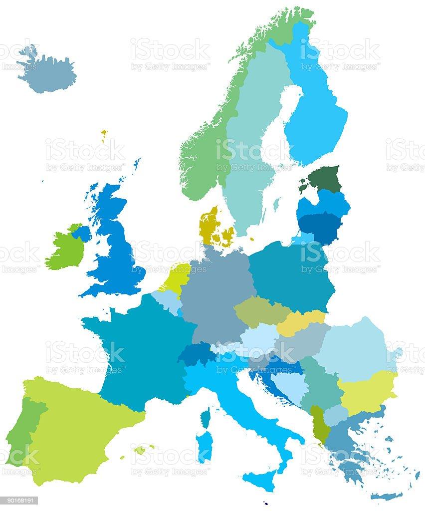 Europe Map EU Detailed Maps vector art illustration