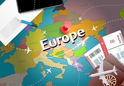 Carte Europe Voyage.Fond De Carte Concept Europe Voyage Avec Plans Billets Visitez Le Concept De Destination Voyage Et Tourisme Europe Drapeau De Leurope Sur La Carte