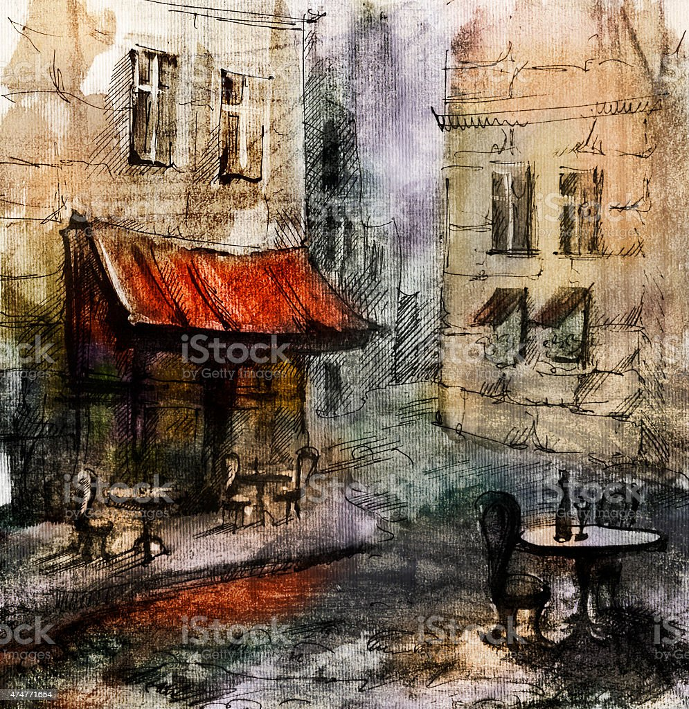 European cafe, graphic drawing in color vector art illustration