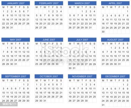 European Calendar 2007 Vector Stock Vector Art More Images Of 2007