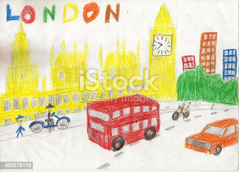 istock European capital, sketch, London, by kid style, background, colors illustration 493379176