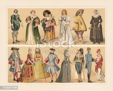 European costumes from the 17th to the 19th century: 1) Charles I of England (1624); 2) French noblewoman (1650); 3) Dutch citizen couple (1640); English noblewoman (1640); 5) Nobleman (Time during the Thirty Years War); 6) Cologne citizen woman; 7) Louis XIV of France (1680); 8) French noblewoman with the