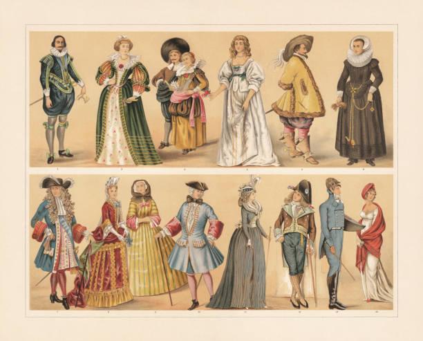 stockillustraties, clipart, cartoons en iconen met europese kostuums, 17e-19e eeuw, chromolithograph, gepubliceerd in 1897 - 18e eeuw