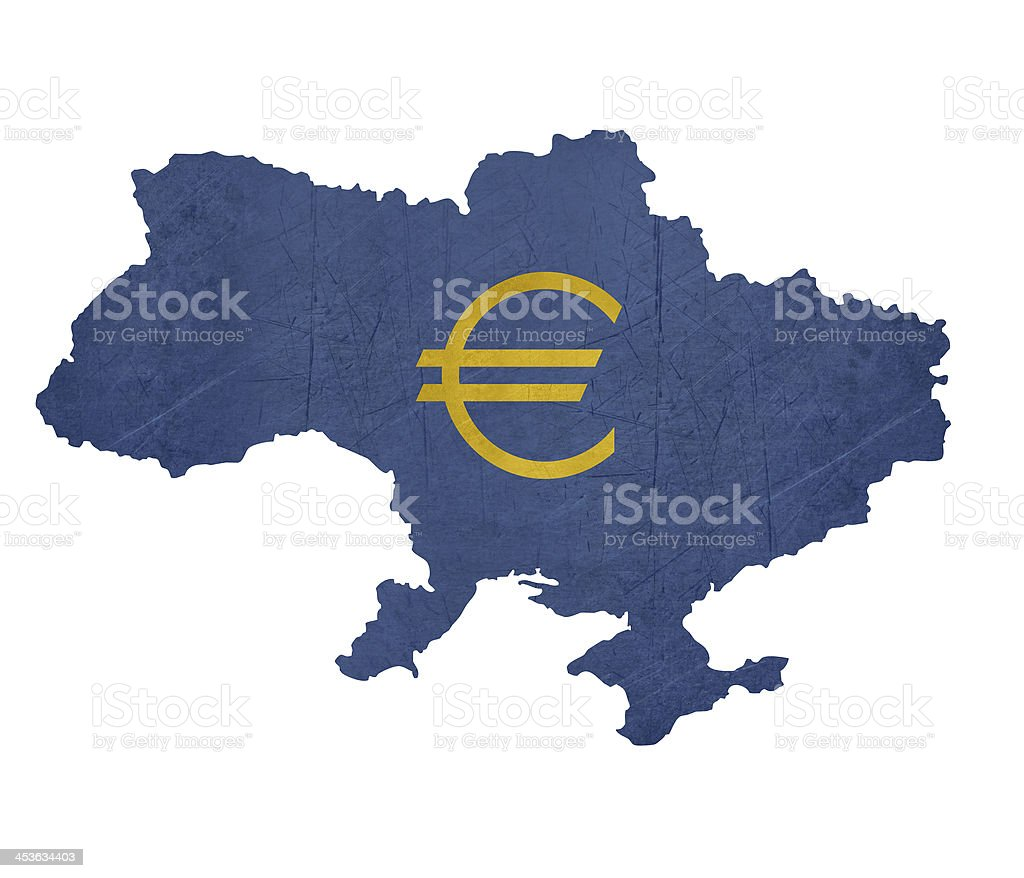 European Currency Symbol On Map Of Ukraine Stock Vector Art More
