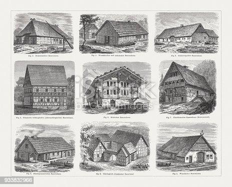 European farmhouse (Germany and Switzerland): 1) Westphalian and Saxon farmhouse; 2) Holstein farmhouse; 3) Schleswig farmhouse; 4) East Pomeranian farmhouse; 5) Sorbian/Wendish farmhouse; 6) Franconian/Thuringian farmhouse; 7) Upper German farmhouse (Black forest); 8) Thuringian/Franconian farm; 9) Swiss farmhouse. Wood engravings, published in 1897.