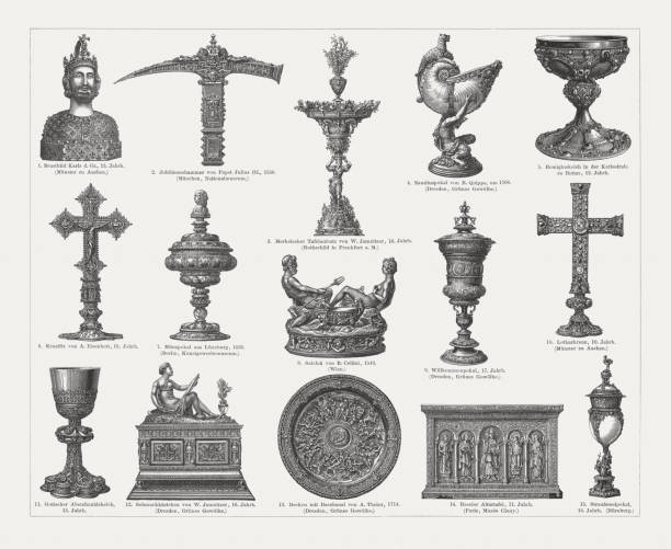 European goldsmithing, wood engravings, published in 1897 European goldsmithing: 1) Gold bust of Charlemagne (13th century), in the Aachen Cathedral, Germany; 2) Pope Julius III Jubilee Hammer (1550), in the National Museum, Munich, Germany; 3) Merkel's Table Piece (Merkelsche Tafelaufsatz), created (1549) by Wenzel Jamnitzer (1508 - 1585), in the Rijksmuseum, Amsterdam, Netherlands; 4) Nautilus cup with satyr shaft (ca. 1700) by Bernd Quippe (before 1662 - 1722) after a design by Balthasar Permoser (1651 - 1732) in the Green Vault (Grünes Gewölbe), Dresden, Germany; 5) Chalice of St. Remigius, French School, (12th century) in the Reims Cathedral, France; 6) Altar-cross (ca. 1600) by Anton Eisenhoit (1553/54 - 1603), Germany; 7) Lüneburg coin goblet (1536), created by Jochim Worm (active in the mid-16th century in Lüneburg, Germany) in the Kunstgewerbemuseum Berlin, Germany; 8) Cellini Salt Cellar (Saliera), created by Benvenuto Cellini (1500 - 1571) in the Kunsthistorisches Museum, Vienna, Austria; 9) Welcome goblet (17th century), in the Green Vault (Grünes Gewölbe), Dresden, Germany; 10) Cross of Lothair (10th century) in the Aachen Cathedral, Germany; 11) Gothic communion goblet (15th century); 12) Jewelry box, created by Wenzel Jamnitzer (1508 - 1585) in the Green Vault (Grünes Gewölbe),  Dresden, Germany; 13)