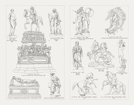 European sculpture art, 19th century, wood engravings, published in 1897
