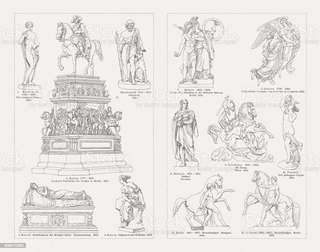 European sculpture art, 19th century, wood engravings, published in 1897 vector art illustration